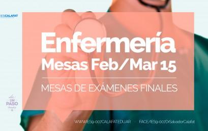 Enfermería: Mesas finales Feb/Mar 2015