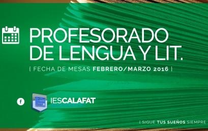 Prof. Lengua y Literatura: Mesas Feb/Marzo16