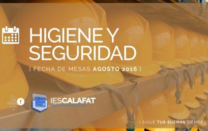Higiene y Seguridad: Mesas Agosto16
