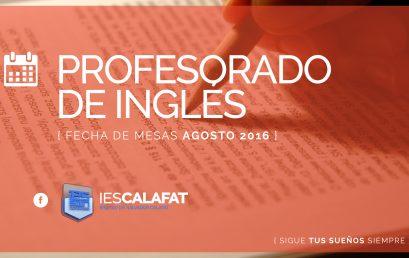 Prof. Inglés: Mesas Agosto16