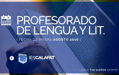 Prof. Lengua y Literatura: Mesas Agosto16