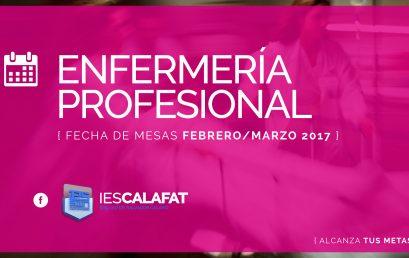 Mesas Finales Feb/Marzo17: Enfermería Profesional
