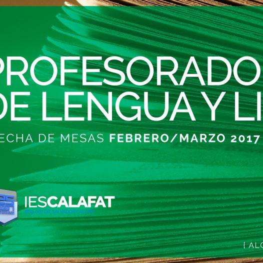 Mesas Finales Feb/Marzo17: P. Lengua y Literatura