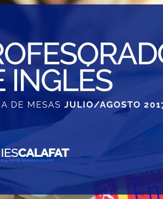 Mesas Finales Jul/Ago17: Inglés