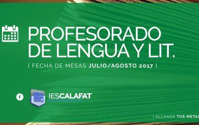 Mesas Finales Jul/Ago17: Lengua y Literatura